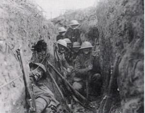 Moedige soldaten in de loopgraven